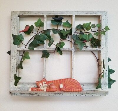 Yellow Orange Tabby Cat in Window Wooden Wall Hanging by Ohio Wholesale