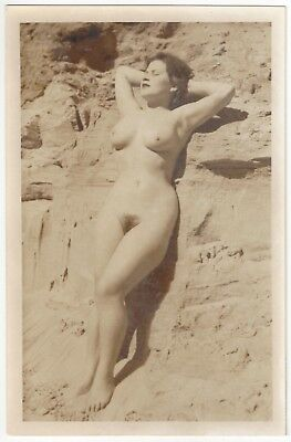 1920's French NUDE Photograph - Busty & Full Frontal on the Beach