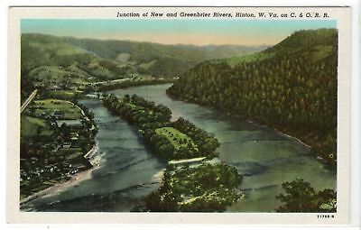 Junction New Greenbrier Rivers Hinton WV C and O Railroad vintage linen postcard