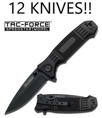 LOT of 12 TAC FORCE Spring Assisted Opening BLACK TACTICAL Folding Pocket Knives