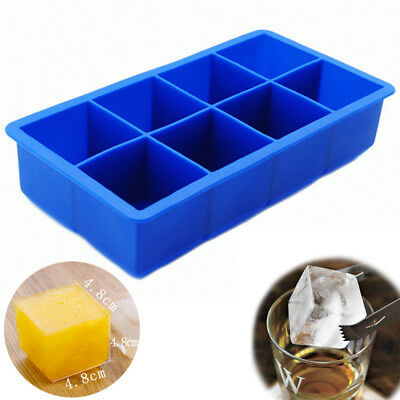 Silicone Square Ice Cube 8 Big Cube Large Tray Mold Mould Solid Color Bar Party