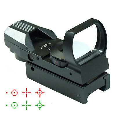 Red/Green Dot Laser Sight Tactical Holographic 4 Reticle Reflex Picatinny Mount