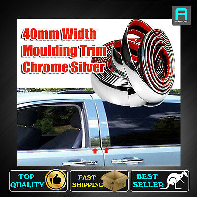40mm Car Ute Chrome Styling Mouldings Tape Trim Window Lower Body Decoration 10M