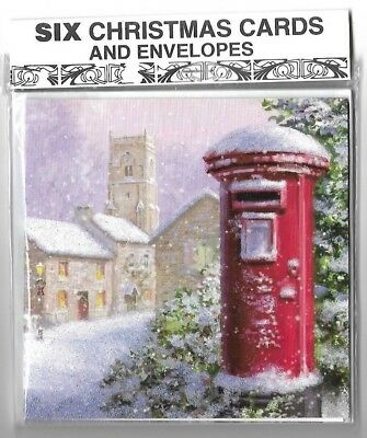Pack Of Six Traditional Snowy Village & Reindeer Christmas Cards & Envelopes
