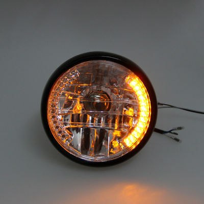 7'' Motorcycle Yellow LED Headlight Turn Signal Light  For Harley Cafe Racer