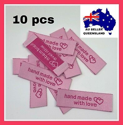 WOVEN LABELS 10pcs, Clothing Label, DIY, Crochet, Pink Handmade With love Hearts