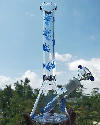 11 Inch Clear Art Glass Hookah bong Water Pipe Bubbler Beaker Tobacco collector