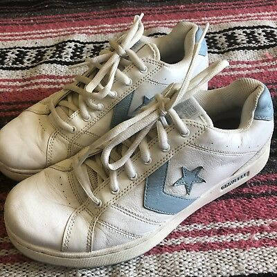 Vintage Rare Converse One Star Baby Blue White Leather Tennis Shoes Womens 10