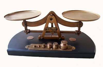 Antique Solid Brass LIBRASCO Replica Balance Scales + 6 BRASS Weights 1 to 50 gm