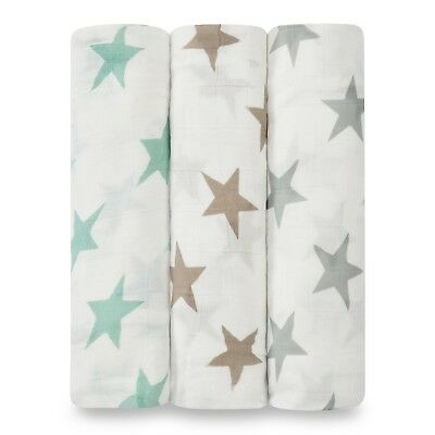 aden and anais silky soft muslin large baby swaddles 3-pack: milky way