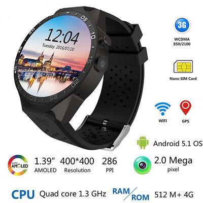 KW88 Bluetooth Sports Smart Watch 1080P Camera GPS 3G WCDMA Phone For Android