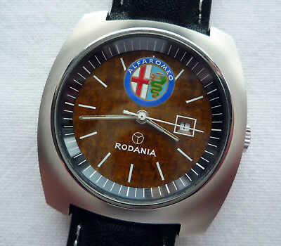 Alfa Romeo Vintage Classic Car Accessory Art Deco Rodania Swiss Automatic Watch