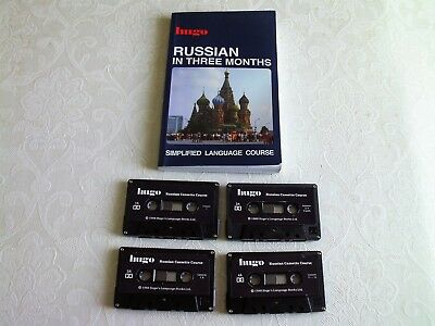 Hugo Russian In Three Months (4 Cassettes and Paperback Book)