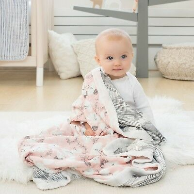 aden and anais baby muslin silky soft bamboo dream blanket: pretty petals