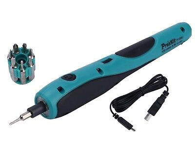 Rechargeable precision Electric Screwdriver USB Battery Cordless + Bits + LED