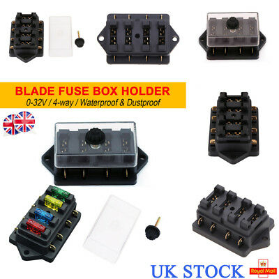 uk 12v 24v 4 way car van auto marine bus bar circuit mini blade fuse box