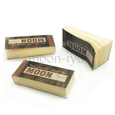 3 Packs of MOON Unbleached HEMP Rolling Paper Tips Filters (50 Sheets per pk)