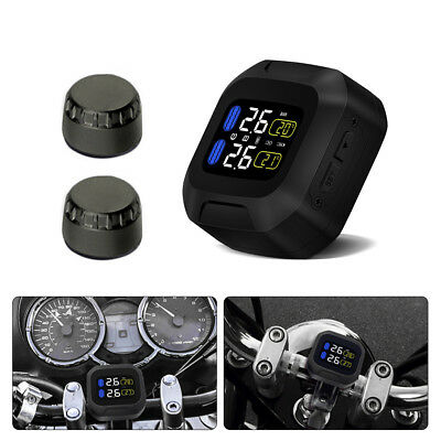 Motorcycle TPMS System Tire Tyre Temperature Pressure Monitor + 2x Sensor MA1444