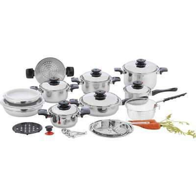 """Chef's Secret 28pc 12-Element T304 Stainless Steel """"Waterless"""" Cookware Set"""