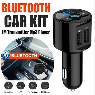 New Bluetooth Car Kit Wireless FM Transmitter Dual USB Charger Audio MP3 Player.
