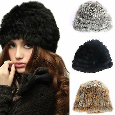 Women's Russian Real Rabbit Fur Knitted Cap Winter Warm Fluffy Beanie Ski Hat