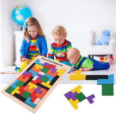 Wooden Tangram Brain Teaser Puzzle Tetris Game Preschool Kids Children Wood Toy