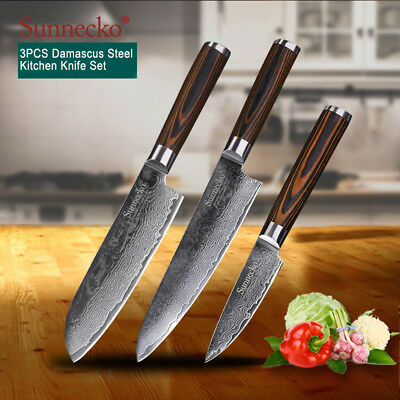3 PCS DAMASCUS Kitchen Knives Japanese VG Blade Chef\'s Knives Set Wooden  Handle