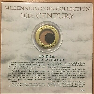 INDIA 10th Century Chola Dynasty coin presented in CD size plastic case