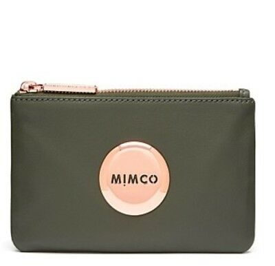 Free Post Mimco Olive Rose Gold Small Mim Pouch Sheepskin Inner Card Slots Rrp79