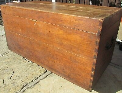 Vintage Teak Not Pine Chest Trunk With Cast Iron Side Handles Ideal Coffee Table