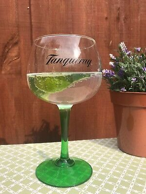 tanqueray Gin Balloon Glasses x 2 stunning green stem NEW//UNUSED
