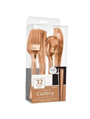 Rose Gold Premium Assorted Plastic Cutlery - Pack of 32