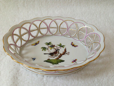 HEREND Rothschild Birds oval porcelain basket 24k gold trim #7403/RO - flawless