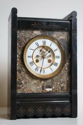 ANTIQUE FRENCH MARBLE MANTEL CLOCK visible escapement ARTS & CRAFTS STYLE CASE