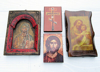 Lot 4 Vintage Small Religious Wooden Wall Plaques Religious Icons Christianity