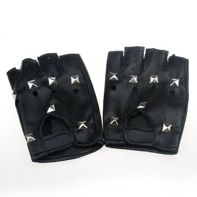 Black Leather Studded Fingerless Half Finger Driving Gloves Lara Croft Cosplay