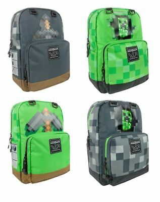 Minecraft Backpack Rucksack Large School Bag (Creeper Inside, Sword, Pickaxe)