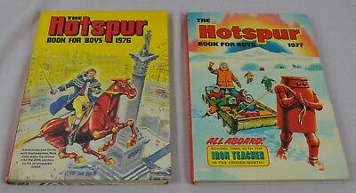 2 x The Hotspur Book For Boys 1976 1977 Vintage Adventure Action Annual Book