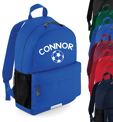 Personalised Name Football Rucksack Backpack Back to School Bag Sports Boys