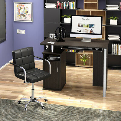 Compact Computer Desk with Cupboard Shelves Storage for Home Office
