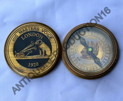 Antiques Old Vintage The Beatles Round Brass Compass From England 1965 Beatles
