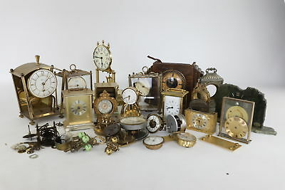 Large Lot Vintage CLOCK PARTS for Spares/Repair inc Quartz, Carriage, Brass
