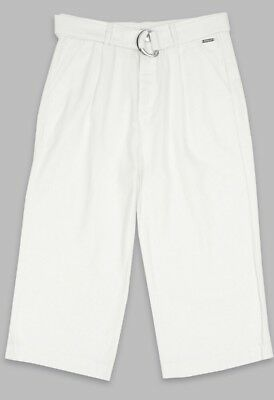 Kids AUTOGRAPH LINEN TROUSERS CULLOTTES AGE 8-9 YEARS WINTER WHITE