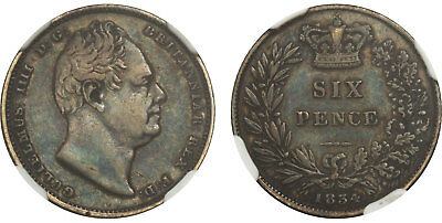 GR. BRIT. William IV (King, 1830-1837) 1834 AR Sixpence NGC XF45 SCBC-3836