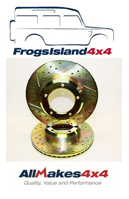 CROSSED DRILLED /& GROOVED FRONT VENTED BRAKE DISCS X 2 FOR LAND ROVER DEFENDER