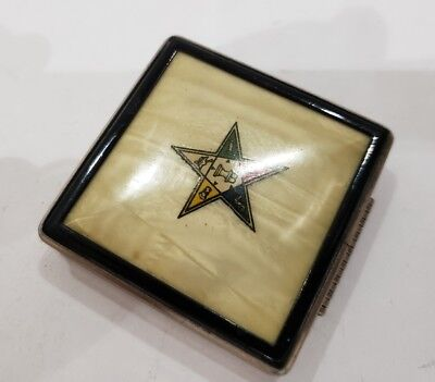 Vintage Freemason Masonic Fraternal Order Of The Eastern Star Enamel Compact