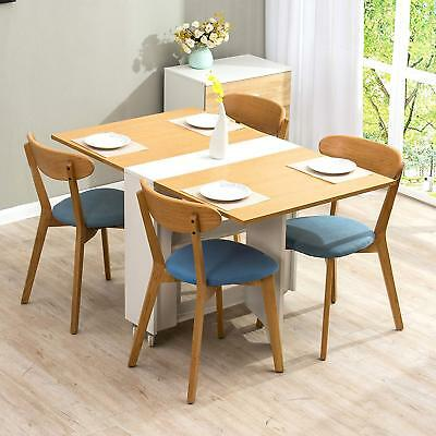 CTF Oak & White Colour Folding Expandable 2-4 Seater Dining Table with Gateleg