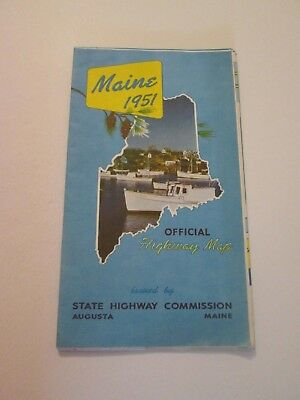 Vintage 1951 Maine Official Highway Travel State Road Map
