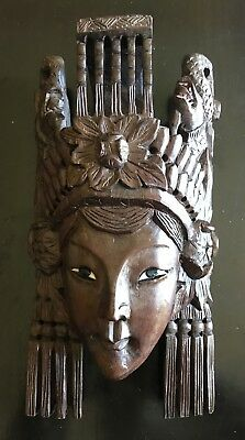 Hand Carved Asian Wooden Wall Mask In Excellent Condition