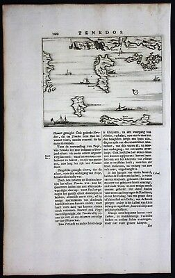 1688 - Tenedos Bozcaada island Turkey engraving map Dapper